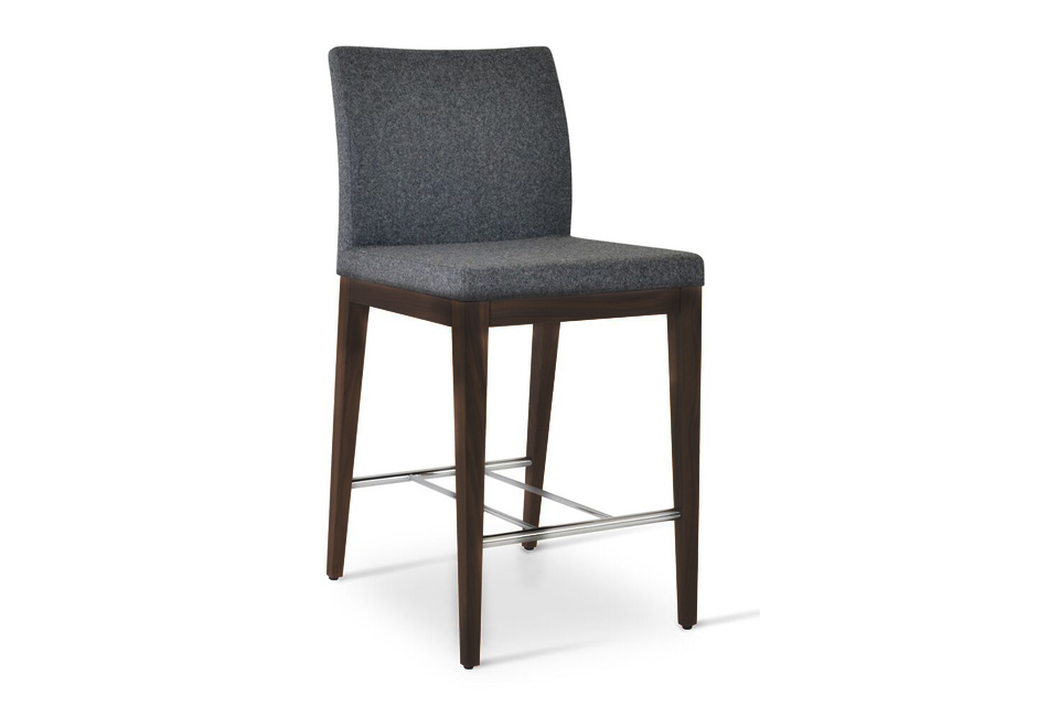 Aria Wood Bar Stool Dark Grey Organic Wool Fabric