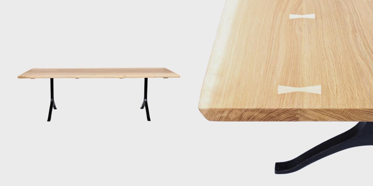 Wishbone dining table on white background