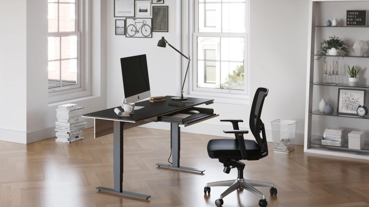Stance desk in a home office environment