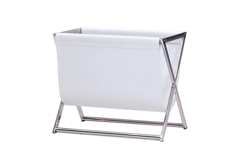 White Leatherette On Polished Chrome