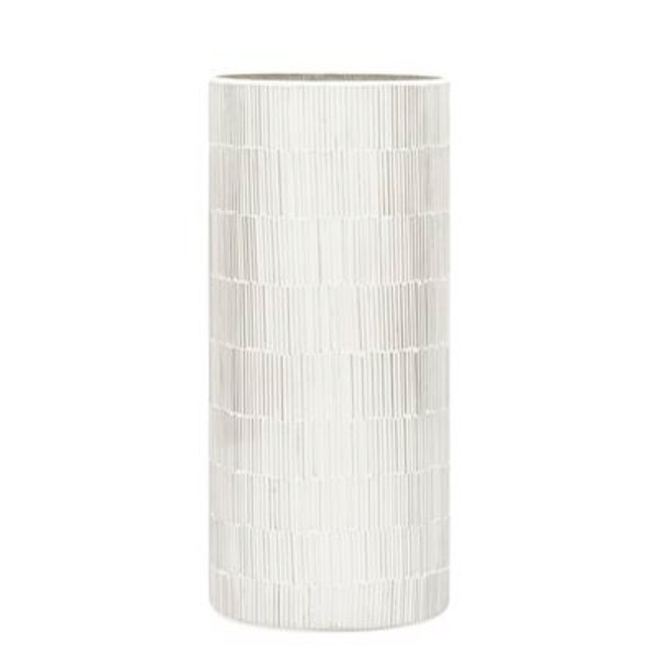 "Bamboo Glass Mosaic 9"" Vase - White"