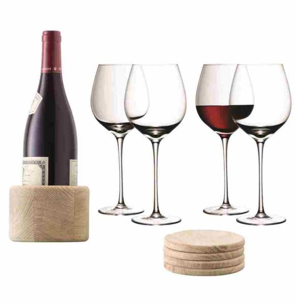 Red wine glass and oak coaster set