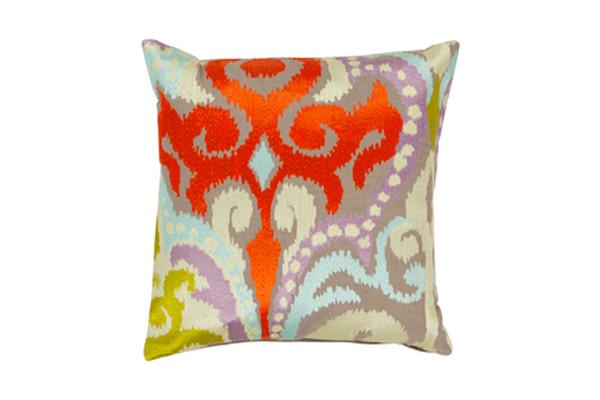 "Ara Cushion 18"" - Taupe/Bright Oran"