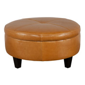 Medium Round Leather Ottoman