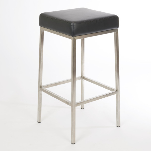 Lloyd Square Counter Stool Black Polyurethane Stainless