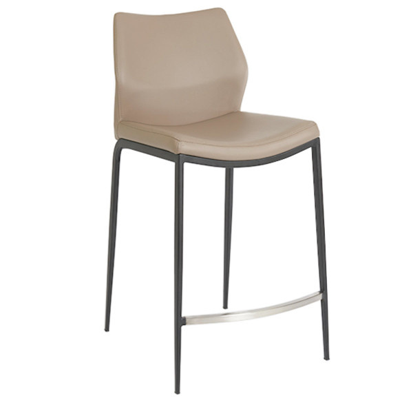 Ka Counter Stool Light Taupe Pu Matte Black Frame Casalife