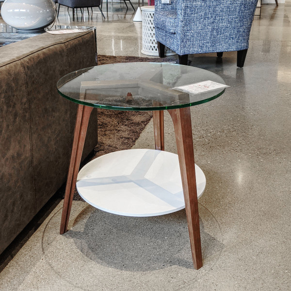 Viva Round Side Table with Shelf