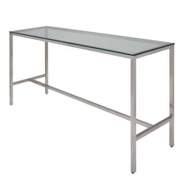 """Verona 72"""" Bar Table - Glass/Stainl"""