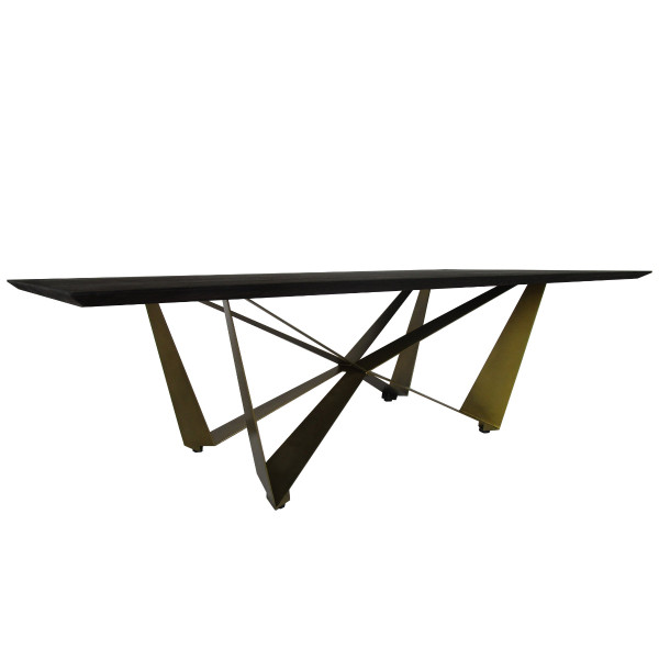 Bowie dining table with burnt oak top and brass angled legs